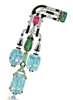 An Important Art Deco Aquamarine, Tourmaline, Diamond and Enamel Brooch, by Cartier circa 1927