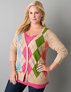 Plus size argyle cardigan by Lane Bryant, in pink, green, nude and turquoise. #curvy fashion