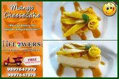 Who can Resist This . at 11 FLOWERS Restaurant in Vrindavan. You can also Order it from the comfort of your place with a FREE Home Delivery! Mango Cheesecake, Rooftop, Delivery, Vegetarian, Restaurant, Pure Products, Meals, Vegan, Make It Yourself