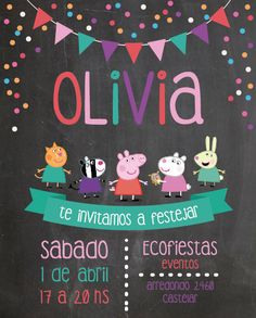 peppa pig Invitacin para el cumple de Olivia / Fiesta de cumpleaos / Infantil / Peppa Pig / Nenas / Birthday party invitation / Girls / Kids / By LAURA&DONNA / Contact us: lauraydonna@ Fiestas Peppa Pig, Cumple Peppa Pig, Peppa Pig Invitations, Birthday Party Invitations, Birthday Party Decorations, Birthday Parties, Picnic Parties, Invitacion Peppa Pig, Pig Party