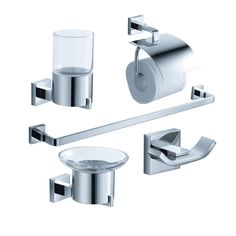 Chrome 5Pc Bathroom Accessory Set  Solido Httpswww Prepossessing Chrome Bathroom Accessories 2018