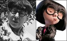 The character from The Incredibles, Edna Mode, was based on the real life costume designer, Edith Head. Even children's movies teach you something ! <3
