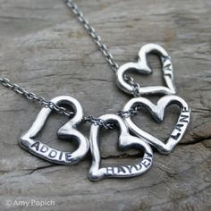 Hand Stamped Childs Names Silver Four Heart by SweetSilverJewelry