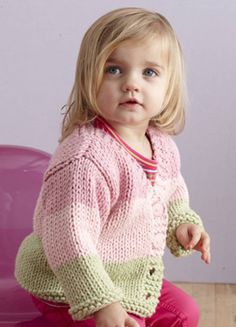 Fairy Tale Cardi in Lion Brand Baby's First, a cute pastel cardigan for your little one! Find this pattern and more inspiration at LoveKnitting.Com.