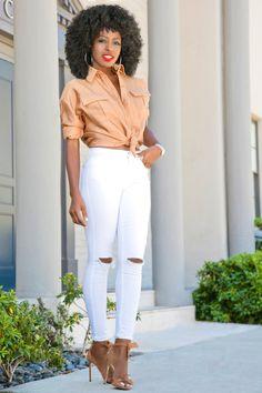 Safari Inspired Boyfriend Shirt + Ripped White Jeans