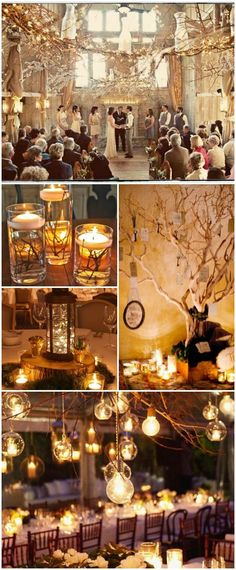 Eccentric Branches and Candle Themed Winter Wonderland Wedding Decorations