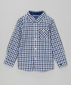 Take a look at this Blue & Black Plaid Button-Up - Toddler & Boys by Beetle & Thread on @zulily today!