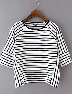 Mulheres Camiseta Casual Moda de Rua Verão,Listrado Branco Poliéster Decote…