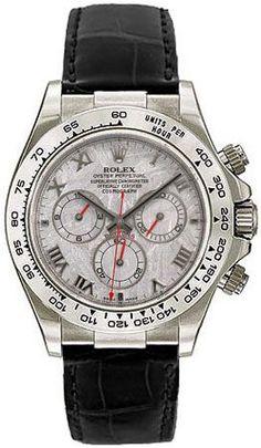 Rolex Oyster Perpetual Cosmograph Daytona Meteorite Roman Dial Leather Bracelet 18k White Gold Mens Watch.