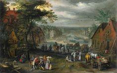 ヤン・ブリューゲル (子) (Jan Brueghel de Jonge)「Village Street with Canal」