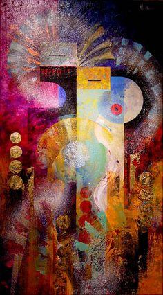 """Water Spirits"" - Native American Painting by  **Joe Maktima** - Hopi / Laguna"