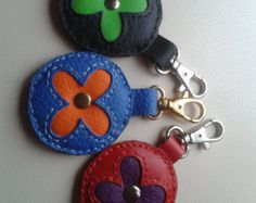 Items similar to HANDMADE LEATHER FLOWERS Keyring, Leather Bag Charm, Handbag Leather Charm, Leather Keychain, Leather Flowers Charm on Etsy