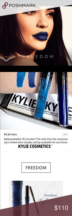 Kylie Jenner Lip Kit - Freedom OPEN TO OFFERS Limited edition Kylie Jenner lip kit. This is a beautiful navy blue color that was only available for purchase once. I will consider all offers.  I also sell cheaper on Ⓜ️. Let me know if you would like to purchase there and I will make a listing for you. Kylie Cosmetics Makeup Lipstick
