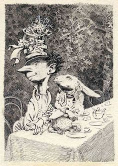 Mervyn Peake / The Mad Hatter's tea party. The March Hare looks amazing here.