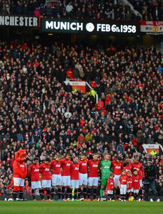 The team pauses to remember those lost as Munich prior to the game against Fulham in Manchester United Legends, Official Manchester United Website, Manchester United Football, Munich Air Disaster, Sir Alex Ferguson, Football Love, Live Matches, Match Highlights, Football Wallpaper