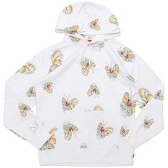 SUPREME Gonz Butterfly Hooded Sweatshirt (1.354.060 COP) ❤ liked on Polyvore featuring tops and hoodies