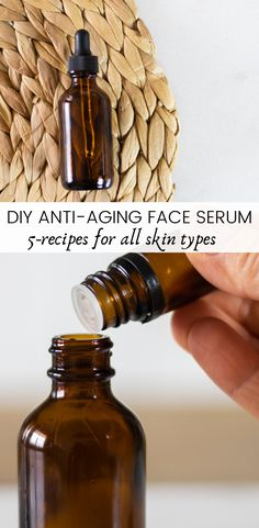 Learn how to make 5 anti-aging serums for all skin types. The best all-natural anti-aging serums to reduce wrinkles, fine lines, and age spots. #antiaging #faceserum #allnatural