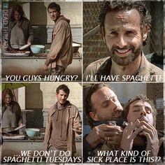 "Spaghetti Tuesdays! TWD. The Walking Dead. Rick Grimes. Alex. Terminus. Mary. ""A"""