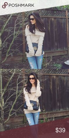 Super Cozy Sweater - Beige Super soft material- BNWOT. Can be dressed up or dressed down. Long enough to wear with leggings for a more relaxed weekend look. ❤ I also will be getting this in Black, Burgundy and a Grey if you are interested- photos to come soon. Sweaters Crew & Scoop Necks