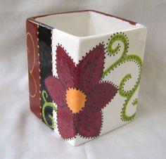 Square Ceramic Flower Pot Vase Pencil Holder  by VickyLynnDesigns, $27.00