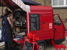 red coffee truck
