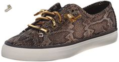 Sperry Top-Sider Women's Seacoast Python Fashion Sneaker, Black/Gold, 9.5 M US - Sperry sneakers for women (*Amazon Partner-Link)