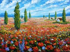 Flowers oil painting the Field of red poppies. Palette knife Paintings for sale.