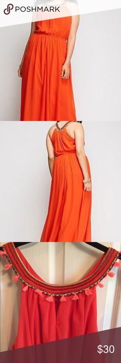Lane Bryant coral long maxi belted dress 18 NEW Lane Bryant long belted maxi dress. Sz 18. New without price tags. Never worn Lane Bryant Dresses Maxi