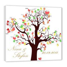 Fingerabdruck Baum - Herzchen braun