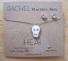 Rachel Roy~Gold Tone~Crystal Stud Earrings~White Skull Pendant Necklace~Heal Set #RachelRoy