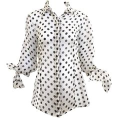 90s GIANFRANCO FERRE silk organza polka-dot blouse ($500) ❤ liked on Polyvore featuring tops, blouses, shirts, dot blouse, white polka dot top, polka dot blouses, white polka dot blouse and white tops
