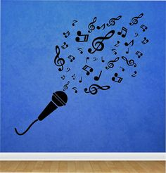 Microphone Music Notes Quote Vinyl Wall Decal Sticker Art