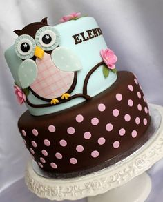 Pink Polka Dotted Blue Owl Birthday Cake