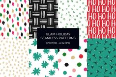 Glam Holiday Patterns (Vector) by k.becca on Creative Market