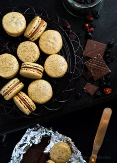Nut free macarons with Berry Choc Ganache and Dried Blueberry puree