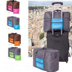 32L Foldable Super Lightweight Large Capacity Storage Luggage Bag For Travel Camping Or Gym Can Attach On The Handle Of Suitcase