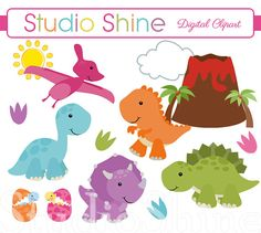 Dinosaur Clipart - Digital Clipart Cute Dinosaurs Clip art for cupcake toppers, invitations, Instant Download Personal and Commercial Use