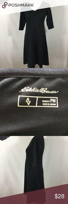 Eddie Bauer Petite Black Empire Waist Casual Dress Eddie Bauer Petite Women's Black 3/4 Sleeve Empire Waist Casual Dress Sz PM Eddie Bauer Dresses