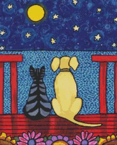Cat Cross Stitch Kits by Shelagh Duffett cat and dog cross stitch Alice in Paris