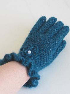 Crochet gloves-EMERALD GREEN GlovesThese make you feel special and by asuhan, $27.90