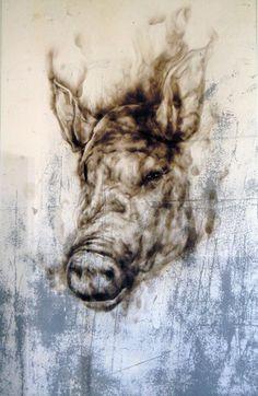 Brief Lives: Pig – Smoke on Glass Animal Art, Fine Art, Drawings, Painting, Lion Sculpture, Visual Art, Art, South African Art, South African Artists