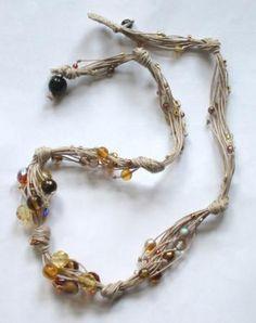 collana gocce d'ambra collana in vetro e cristalli cristalli boemia,vetri boemia,lino nodi,festone