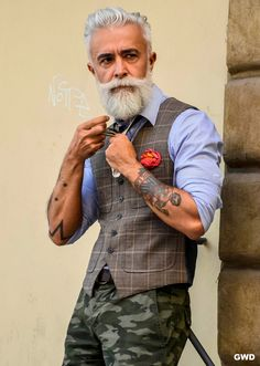 Urban Street Style, Gray Hair and Beard, Men's Spring Summer Fashion.  Gramps here could kick my ass.