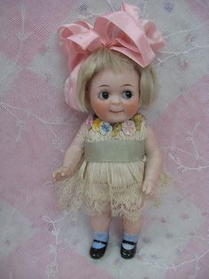 "7"" All Bisque Kestner Googly Doll Dolls And Lace.com"