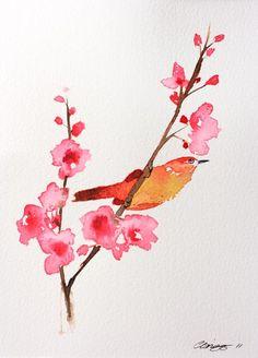 Pretty Branch & Bird original watercolour painting 8 x 10 inches $39.00
