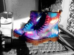 Galaxy Space Cosmic Print Dr.martens women shoes boot REALLY LEA