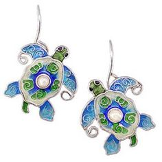 Pearly Sea Turtle Earrings by Zarah Co Sea Turtle Jewelry, Turtle Earrings, Sea Turtle Gifts, Free Gifts, Special Gifts, Jewelry Collection, Pearls, Turtles, Reptiles