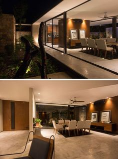 Stepping into this house, you immediately see large sliding glass doors that open the interior to the garden outside, creating indoor/outdoor spaces that are found throughout the home, like in the dining room below.