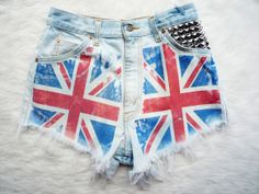 """Union Jack Flag Vintage High Waist Levis, Studded Cut Off Denim Shorts - """"God Save The Queen"""" from RubyStarlingCo on Etsy. Distressed High Waisted Shorts, Distressed Denim, Denim Shorts, Waisted Denim, Ripped Denim, Pretty Outfits, Cool Outfits, Pretty Clothes, Studded Shorts"""