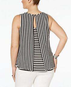 Monteau plus size sleeveless striped blouse tops plus sizes macy s Plus Size Fashion For Women, Trendy Fashion, Blouse Styles, Blouse Designs, Sewing Blouses, Women's Blouses, Chic Outfits, Fashion Outfits, Stylish Tops
